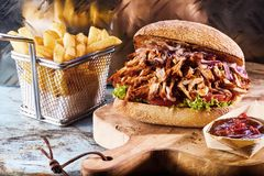 Baked sandwich with meat and french fries Stock Image