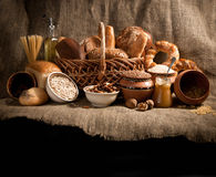 Baked bread on sacking Royalty Free Stock Images
