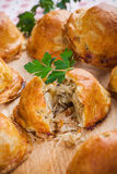 Baked bread stuffed with cabbage and mushrooms. Some baked bread stuffed with cabbage and mushrooms stock photography
