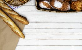 Baked Bread on Table Top Stock Image