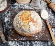 Baked bread, white wheat flour stock photo