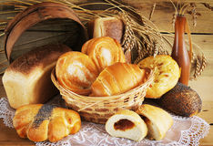 Baked bread on wood table Stock Photo