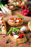 Baked bruschettas Royalty Free Stock Photography