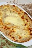 Baked buckwheat mash in baking pan Stock Image