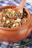 Baked buckwheat with vegetables and cheese Stock Photography