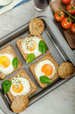 Baked Bull's-Eye Eggs Royalty Free Stock Photos