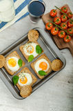 Baked Bull's-Eye Eggs Royalty Free Stock Images