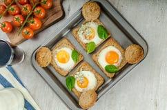 Baked Bull's-Eye Eggs Stock Images