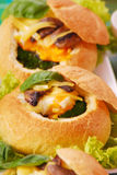 Baked buns filled spinach and egg Royalty Free Stock Image