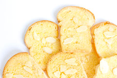 Baked butter toast with sliced almonds. Pile of baked butter toast with sliced almonds Royalty Free Stock Photography