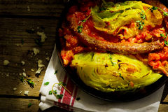 The baked cabbage with sausages Royalty Free Stock Photography