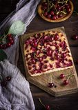Baked cake with cherries Stock Photography
