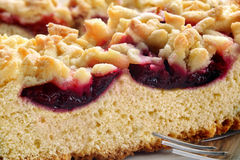 Baked cake with plums and crumble Royalty Free Stock Images
