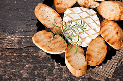 Baked Camembert cheese with rosemary and toast Stock Image