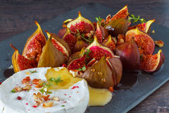 Baked Camembert with figs Royalty Free Stock Photos