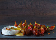 Baked Camembert with figs Royalty Free Stock Photo