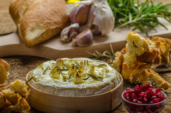 Baked Camembert with Garlic & Rosemary Royalty Free Stock Photography