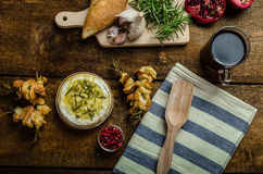 Baked Camembert with Garlic & Rosemary Royalty Free Stock Photo
