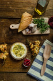 Baked Camembert with Garlic & Rosemary Royalty Free Stock Images