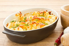 Baked Cauliflower. Cauliflower baked with egg and cheese with dill royalty free stock photos