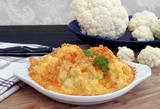 Baked Cauliflower in a creamy cheddar cheese sauce. Stock Images