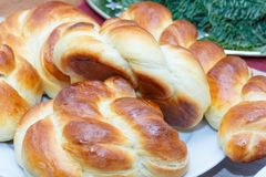 Baked challah barches dacher bread for typically eaten on ceremonial stock photo