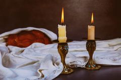 Baked challah Holy Shabbat Shalom Traditional Jewish Sabbath ritual. Shabbat Shalom Traditional Jewish Sabbath ritual Homemade freshly baked challah Holy Sabbath Royalty Free Stock Photo