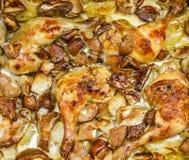 Baked chciken trumpinnar med potatisar och champinjoner Royaltyfria Foton