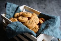 Baked Cheddar cheese crackers sprinkled with poppy seeds Stock Photos