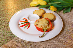 Baked with cheese and bell pepper stuffed potatoes Royalty Free Stock Photo