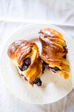 Baked cheese and blueberries buns Stock Photo