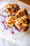 Baked cheese and blueberries buns Royalty Free Stock Photos
