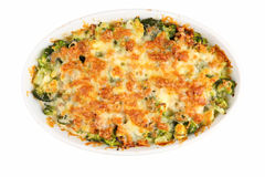 Baked cheese with broccoli Stock Photo