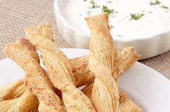 Baked cheese sticks with dip Stock Images