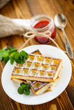 Baked cheese waffles with powdered sugar Stock Photo