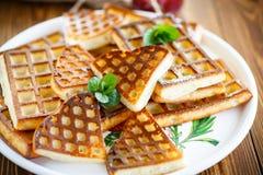 Baked cheese waffles with powdered sugar Royalty Free Stock Photos