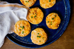 Baked Cheesy English Muffins. A blue platter of cheesy baked english muffins Stock Image