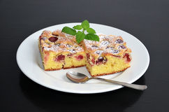 Baked cherry souffle pie Royalty Free Stock Photo