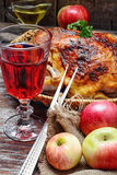 Baked chicken with apples Royalty Free Stock Photography
