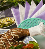 Baked chicken at the banquet table Royalty Free Stock Photos