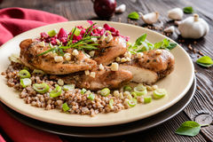 Baked chicken breast with buckwheat, beetroot and onion Stock Photography