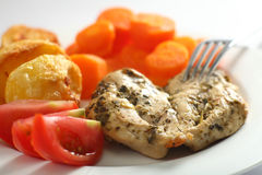 Baked chicken breast closeup Stock Images