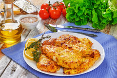 Baked Chicken Breast Coated With Melted Cheese Royalty Free Stock Photography
