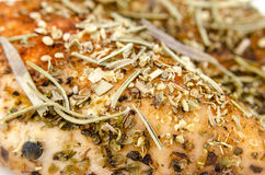 Baked chicken breast - Extreme close-up Stock Photo
