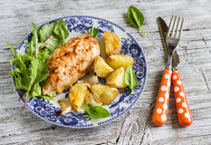 Baked chicken breast with potatoes Royalty Free Stock Photo