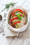 Baked chicken breast stuffed tomatoes , zucchini and mozzarella Stock Photography