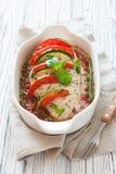 Baked chicken breast stuffed tomatoes , zucchini and mozzarella Stock Image