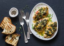 Baked chicken breast with tomatoes, spinach and mozzarella - delicious diet lunch in mediterranean style on a dark background royalty free stock photos