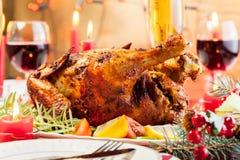 Baked chicken for Christmas dinner Stock Photography
