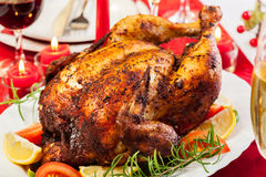 Baked chicken for Christmas dinner royalty free stock image